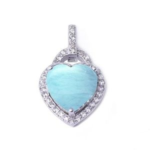 natural larimar heart pendant